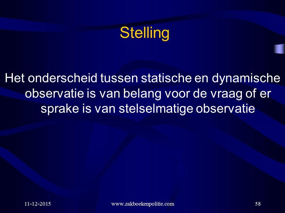 11-12-2015www.zakboekenpolitie.com58 Stelling Het onderscheid tussen statische en dynamische observatie is van belang voor de vraag of er sprake is va