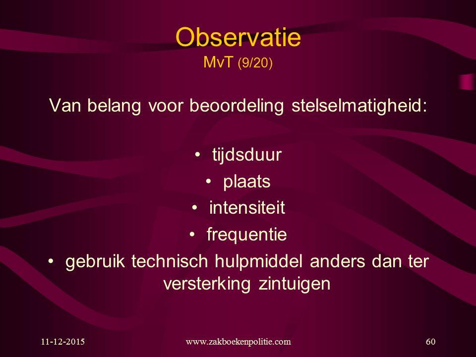 11-12-2015www.zakboekenpolitie.com60 Observatie MvT (9/20) Van belang voor beoordeling stelselmatigheid: tijdsduur plaats intensiteit frequentie gebru
