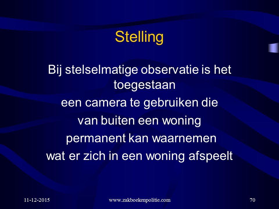 11-12-2015www.zakboekenpolitie.com70 Stelling Bij stelselmatige observatie is het toegestaan een camera te gebruiken die van buiten een woning permane