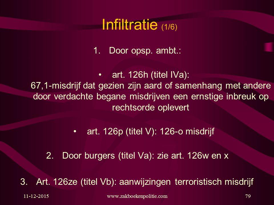 11-12-2015www.zakboekenpolitie.com79 Infiltratie (1/6) 1.Door opsp. ambt.: art. 126h (titel IVa): 67,1-misdrijf dat gezien zijn aard of samenhang met