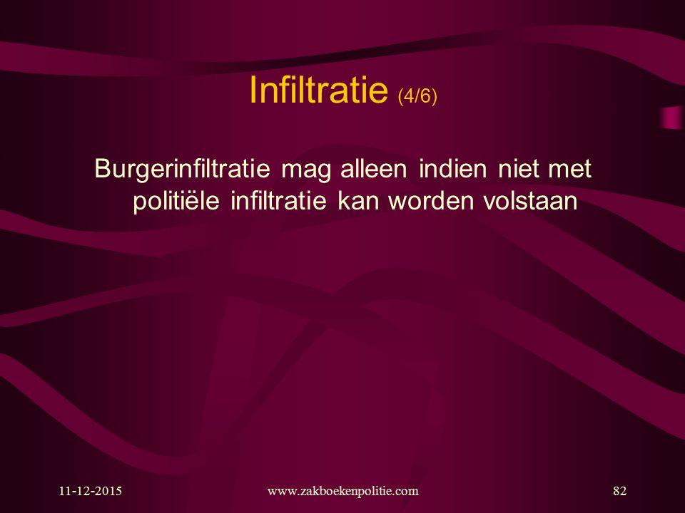 11-12-2015www.zakboekenpolitie.com82 Infiltratie (4/6) Burgerinfiltratie mag alleen indien niet met politiële infiltratie kan worden volstaan