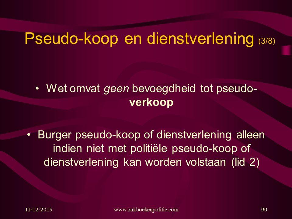 11-12-2015www.zakboekenpolitie.com90 Pseudo-koop en dienstverlening (3/8) Wet omvat geen bevoegdheid tot pseudo- verkoop Burger pseudo-koop of dienstv