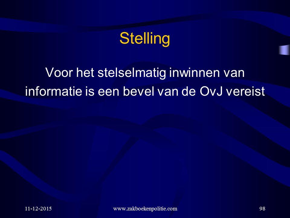 11-12-2015www.zakboekenpolitie.com98 Stelling Voor het stelselmatig inwinnen van informatie is een bevel van de OvJ vereist