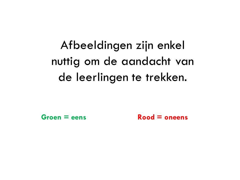 Stilstaand beeldmateriaal is het belangrijkste in: Klassikale uitleg met behulp van Powerpoint of prezi = groen Afbeeldingen in het lesboek = Rood Afbeeldingen in activerende werkvormen = rood en groen