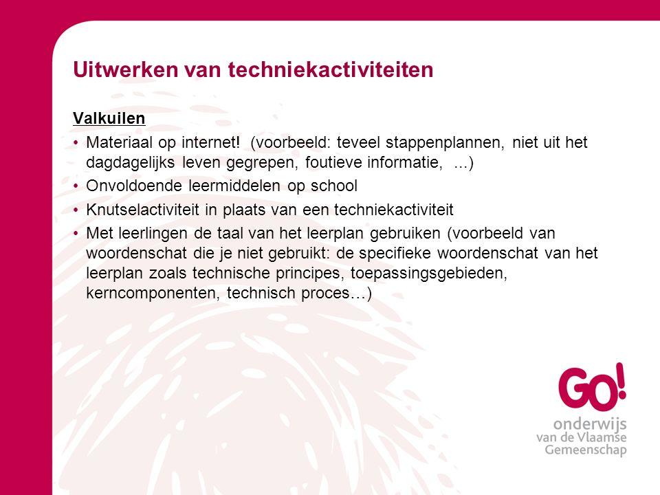 Uitwerken van techniekactiviteiten Valkuilen Materiaal op internet.