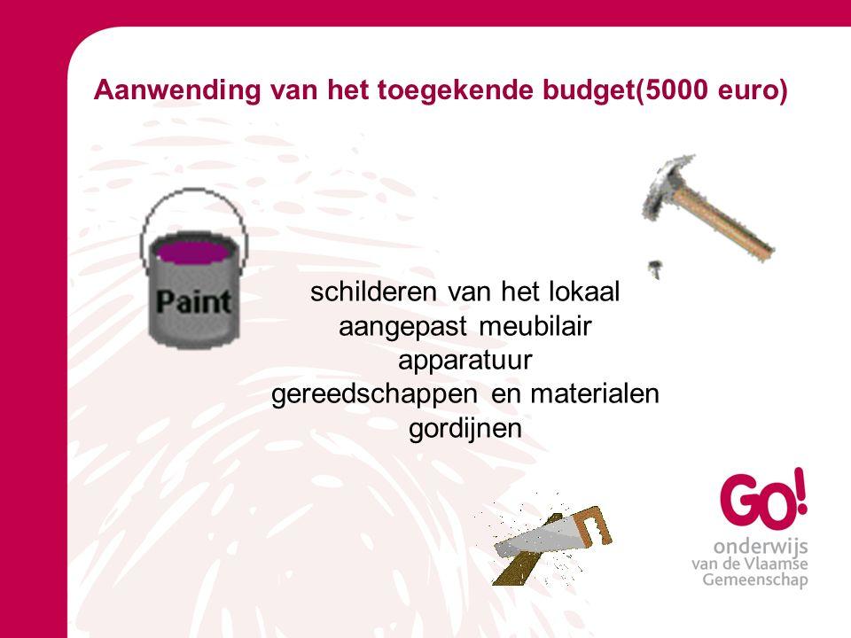 Aanwending van het toegekende budget(5000 euro) schilderen van het lokaal aangepast meubilair apparatuur gereedschappen en materialen gordijnen