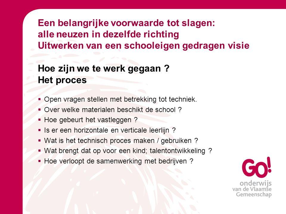 Een belangrijke voorwaarde tot slagen: alle neuzen in dezelfde richting Uitwerken van een schooleigen gedragen visie Hoe zijn we te werk gegaan .
