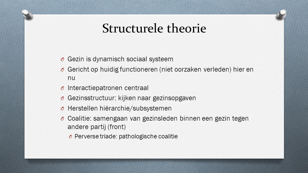 Structurele theorie O Gezin is dynamisch sociaal systeem O Gericht op huidig functioneren (niet oorzaken verleden) hier en nu O Interactiepatronen cen