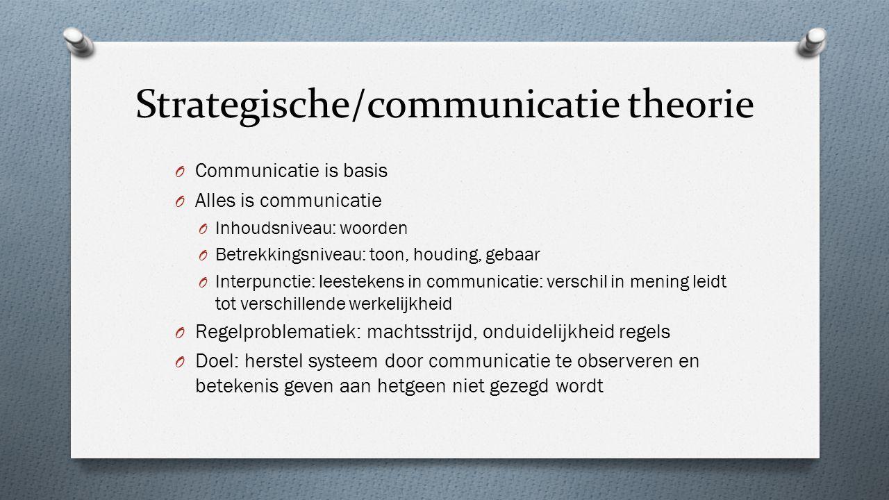 Strategische/communicatie theorie O Communicatie is basis O Alles is communicatie O Inhoudsniveau: woorden O Betrekkingsniveau: toon, houding, gebaar