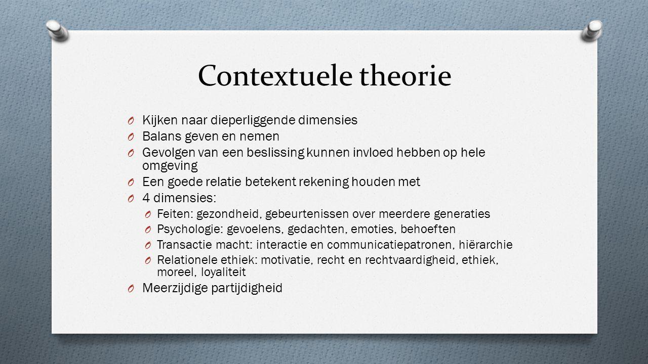 Contextuele theorie O Kijken naar dieperliggende dimensies O Balans geven en nemen O Gevolgen van een beslissing kunnen invloed hebben op hele omgevin