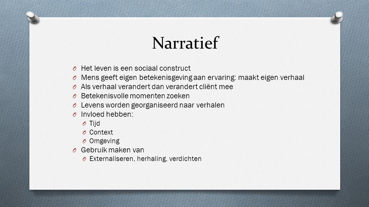 Narratief O Het leven is een sociaal construct O Mens geeft eigen betekenisgeving aan ervaring: maakt eigen verhaal O Als verhaal verandert dan verand