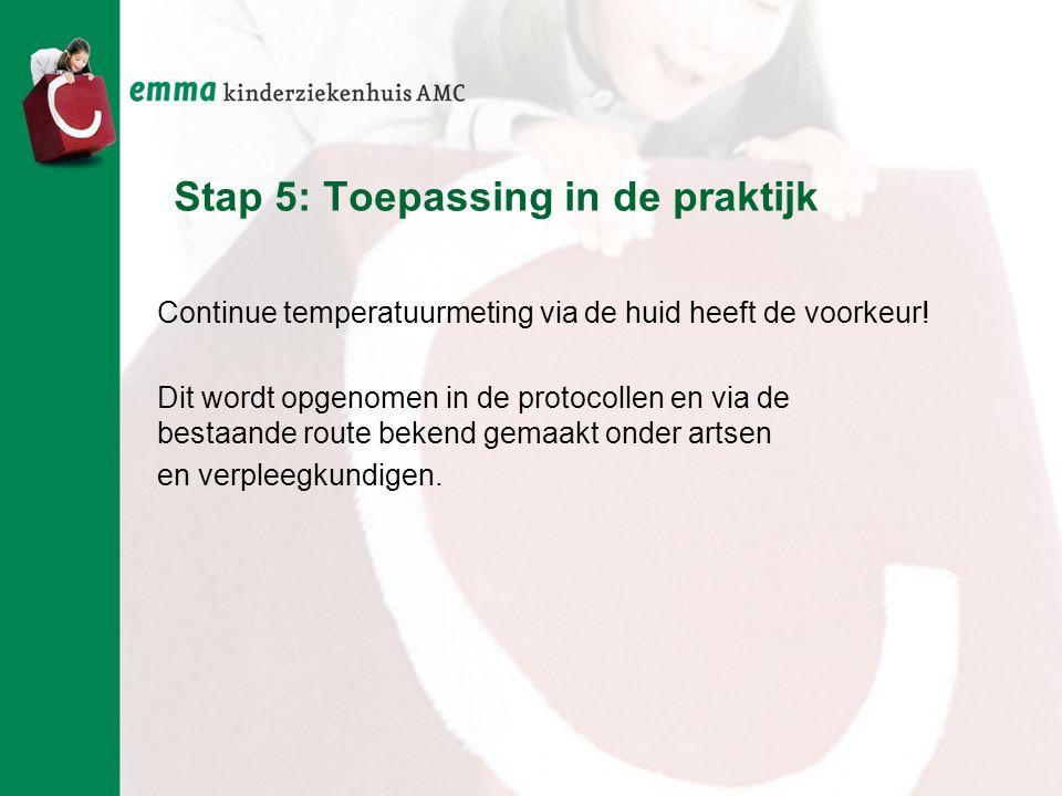 Stap 5: Toepassing in de praktijk Continue temperatuurmeting via de huid heeft de voorkeur! Dit wordt opgenomen in de protocollen en via de bestaande