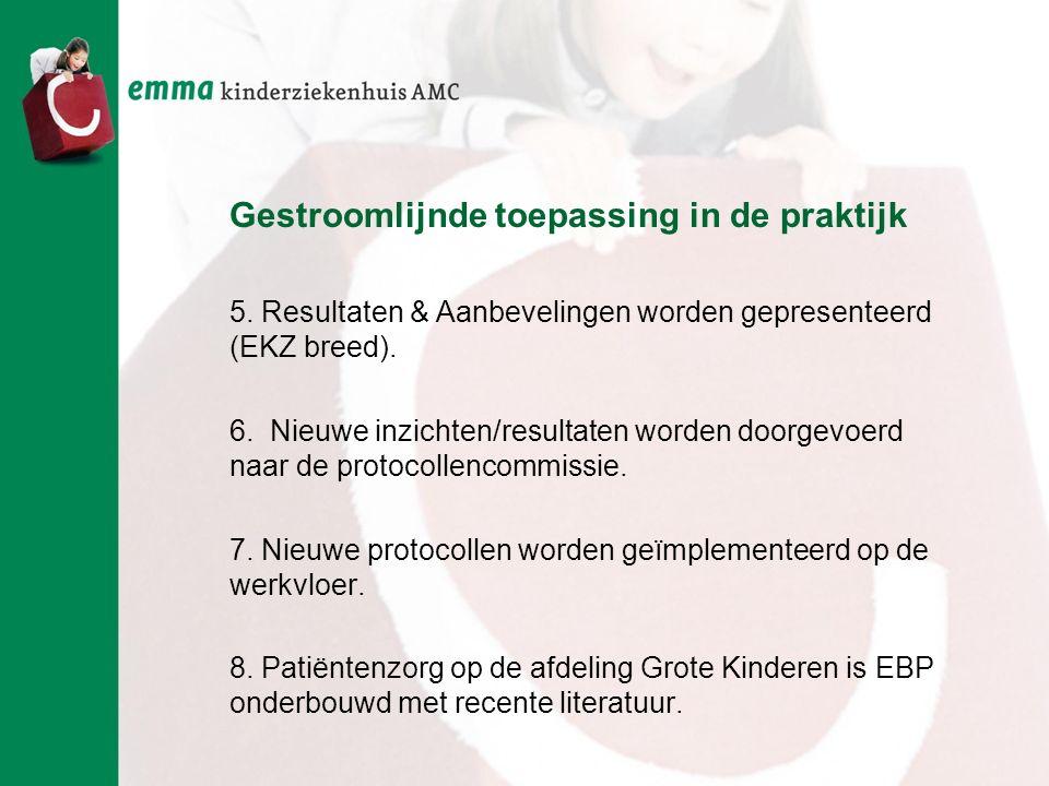 Gestroomlijnde toepassing in de praktijk 5. Resultaten & Aanbevelingen worden gepresenteerd (EKZ breed). 6. Nieuwe inzichten/resultaten worden doorgev