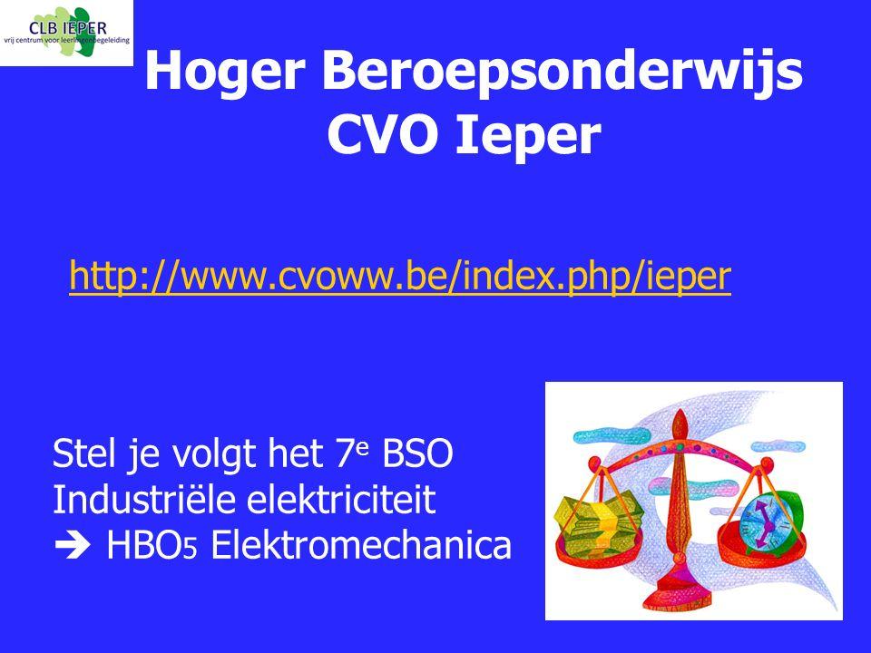 Hoger Beroepsonderwijs CVO Ieper http://www.cvoww.be/index.php/ieper Stel je volgt het 7 e BSO Industriële elektriciteit  HBO 5 Elektromechanica
