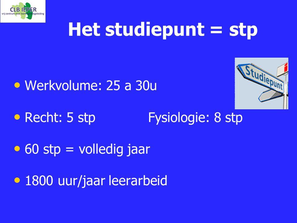 Het studiepunt = stp Werkvolume: 25 a 30u Recht: 5 stp Fysiologie: 8 stp 60 stp = volledig jaar 1800 uur/jaar leerarbeid
