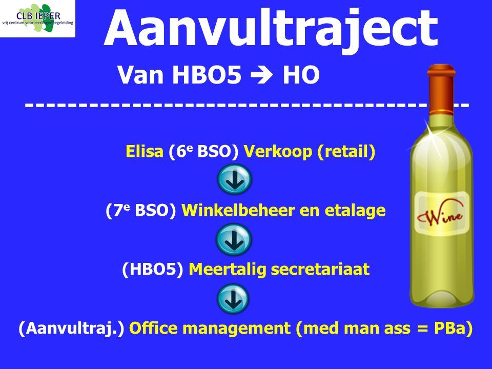 Aanvultraject Van HBO5  HO ------------------------------------------ Elisa (6 e BSO) Verkoop (retail) (7 e BSO) Winkelbeheer en etalage (HBO5) Meert