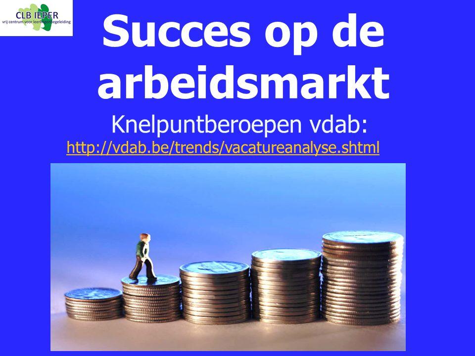 Knelpuntberoepen vdab: http://vdab.be/trends/vacatureanalyse.shtml Succes op de arbeidsmarkt