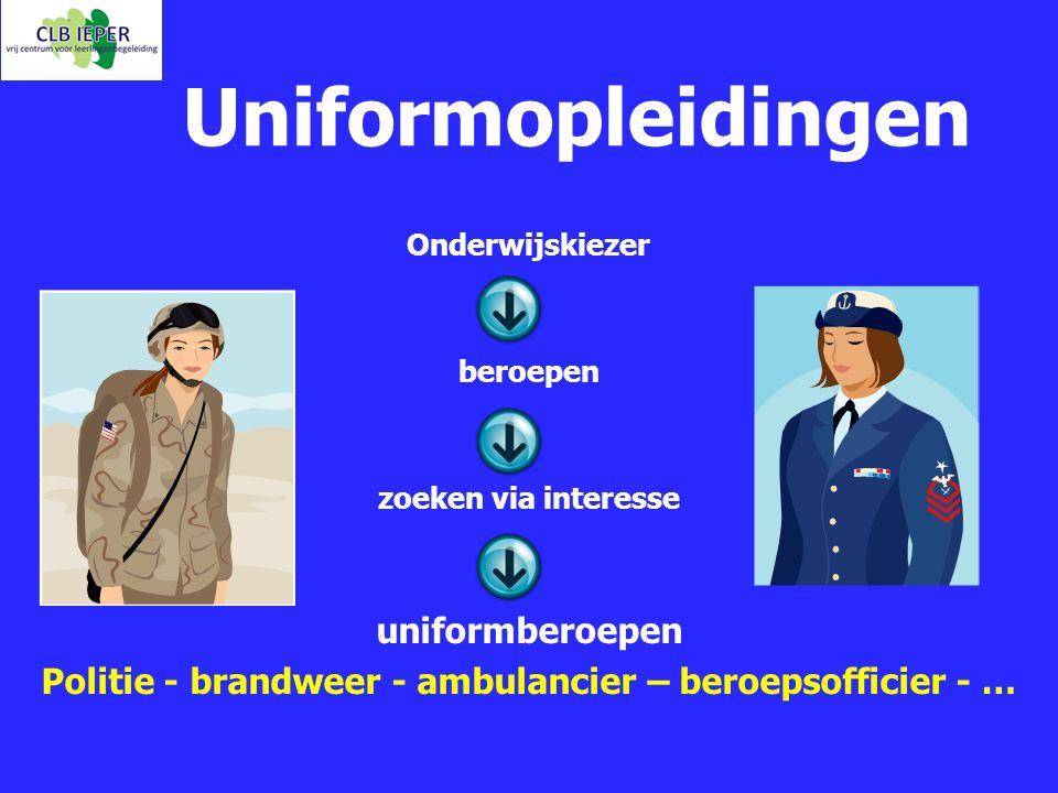 Uniformopleidingen Onderwijskiezer beroepen zoeken via interesse uniformberoepen Politie - brandweer - ambulancier – beroepsofficier - …