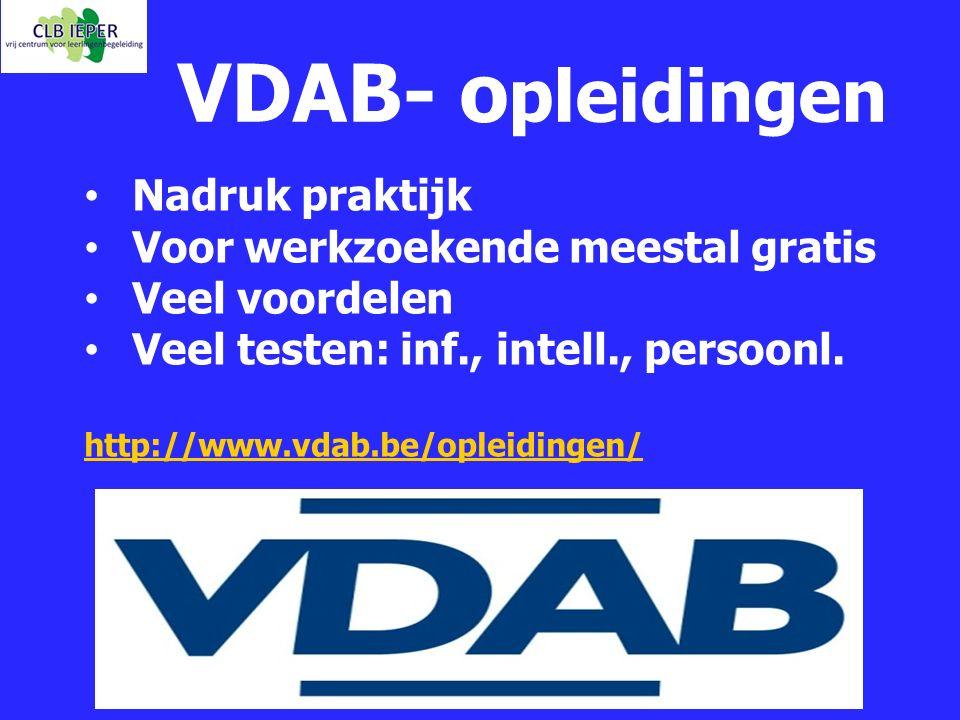 VDAB- o pleidingen Nadruk praktijk Voor werkzoekende meestal gratis Veel voordelen Veel testen: inf., intell., persoonl. http://www.vdab.be/opleidinge