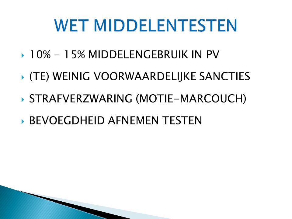  10% - 15% MIDDELENGEBRUIK IN PV  (TE) WEINIG VOORWAARDELIJKE SANCTIES  STRAFVERZWARING (MOTIE-MARCOUCH)  BEVOEGDHEID AFNEMEN TESTEN