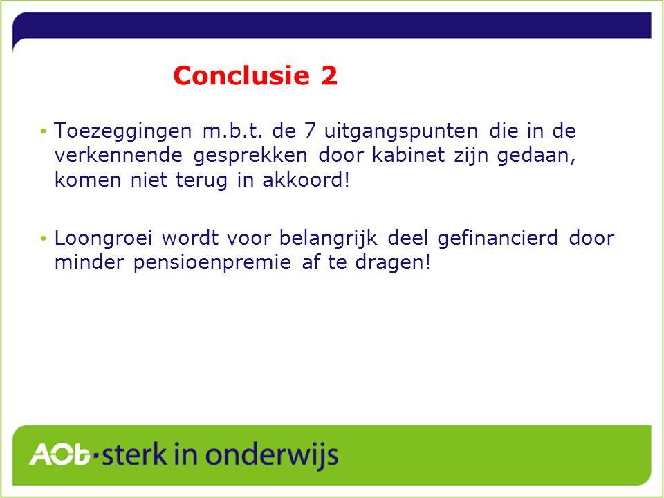 Conclusie 2 Toezeggingen m.b.t. de 7 uitgangspunten die in de verkennende gesprekken door kabinet zijn gedaan, komen niet terug in akkoord! Loongroei