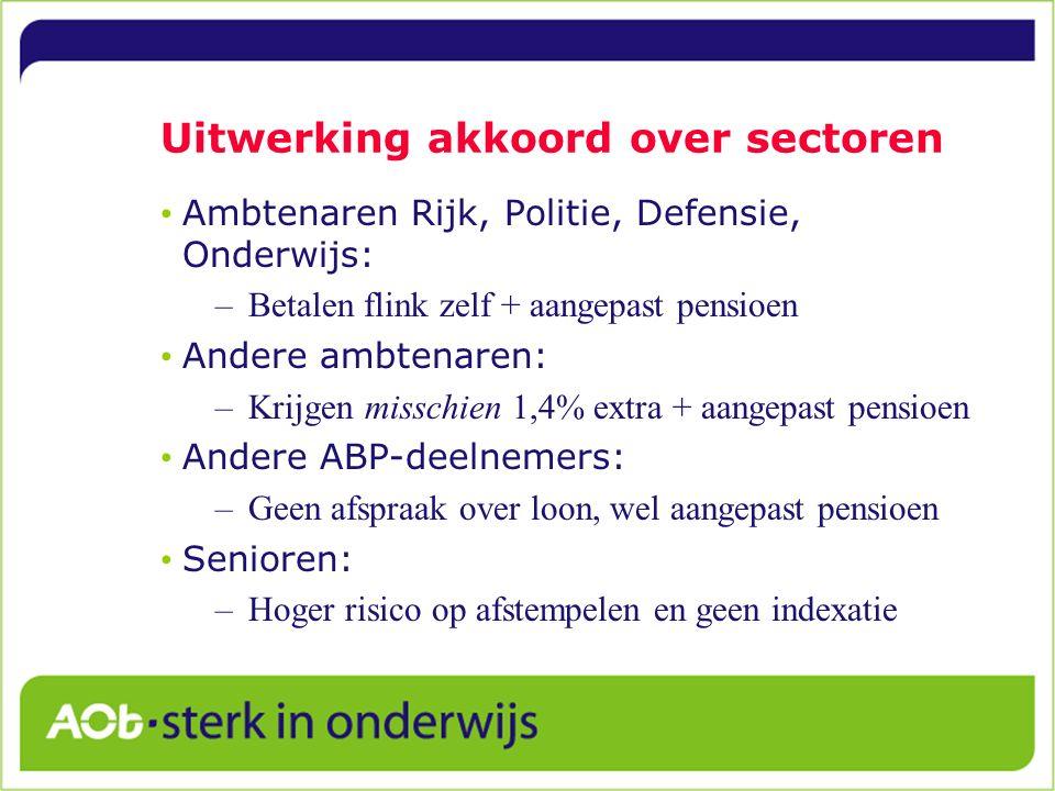 Uitwerking akkoord over sectoren Ambtenaren Rijk, Politie, Defensie, Onderwijs: –Betalen flink zelf + aangepast pensioen Andere ambtenaren: –Krijgen m