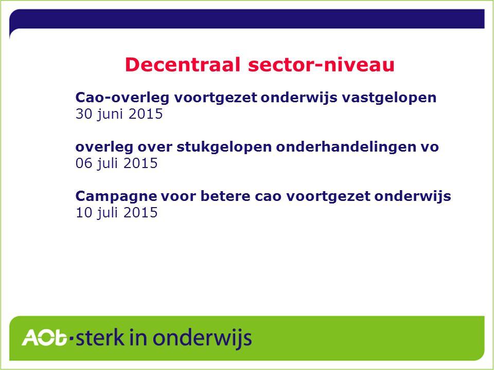 Decentraal sector-niveau Cao-overleg voortgezet onderwijs vastgelopen 30 juni 2015 overleg over stukgelopen onderhandelingen vo 06 juli 2015 Campagne voor betere cao voortgezet onderwijs 10 juli 2015
