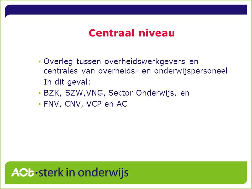 Centraal niveau Overleg tussen overheidswerkgevers en centrales van overheids- en onderwijspersoneel In dit geval: BZK, SZW,VNG, Sector Onderwijs, en FNV, CNV, VCP en AC