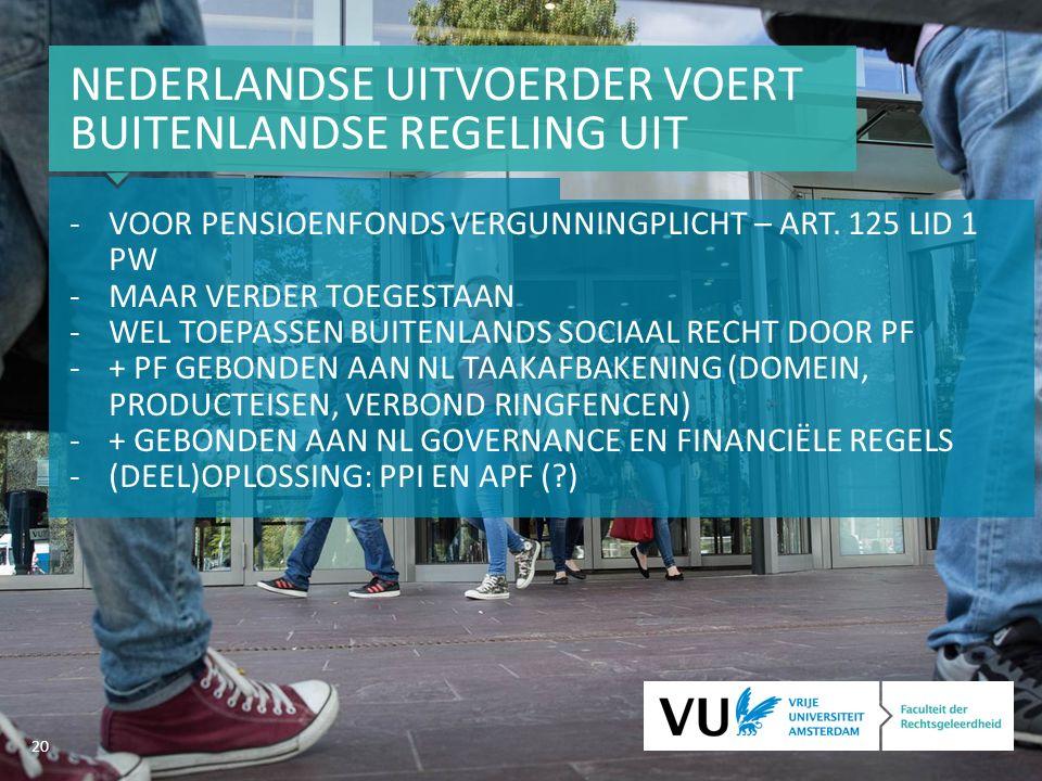 20 NEDERLANDSE UITVOERDER VOERT BUITENLANDSE REGELING UIT -VOOR PENSIOENFONDS VERGUNNINGPLICHT – ART.
