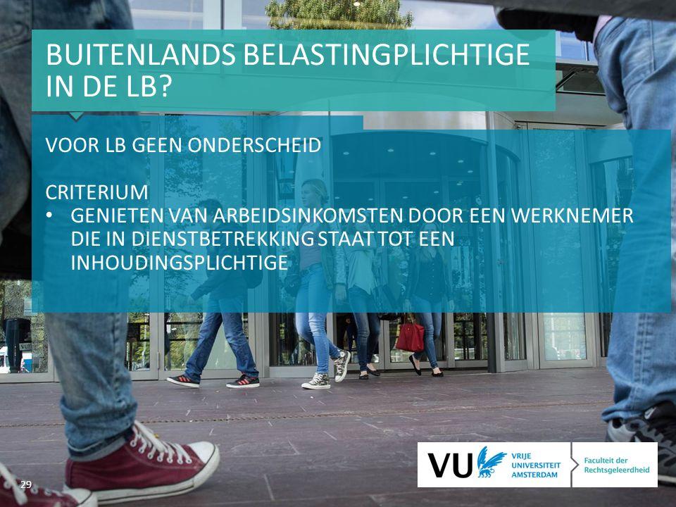 29 BUITENLANDS BELASTINGPLICHTIGE IN DE LB.