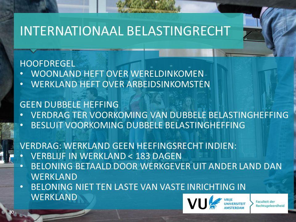 30 INTERNATIONAAL BELASTINGRECHT HOOFDREGEL WOONLAND HEFT OVER WERELDINKOMEN WERKLAND HEFT OVER ARBEIDSINKOMSTEN GEEN DUBBELE HEFFING VERDRAG TER VOORKOMING VAN DUBBELE BELASTINGHEFFING BESLUIT VOORKOMING DUBBELE BELASTINGHEFFING VERDRAG: WERKLAND GEEN HEEFINGSRECHT INDIEN: VERBLIJF IN WERKLAND < 183 DAGEN BELONING BETAALD DOOR WERKGEVER UIT ANDER LAND DAN WERKLAND BELONING NIET TEN LASTE VAN VASTE INRICHTING IN WERKLAND