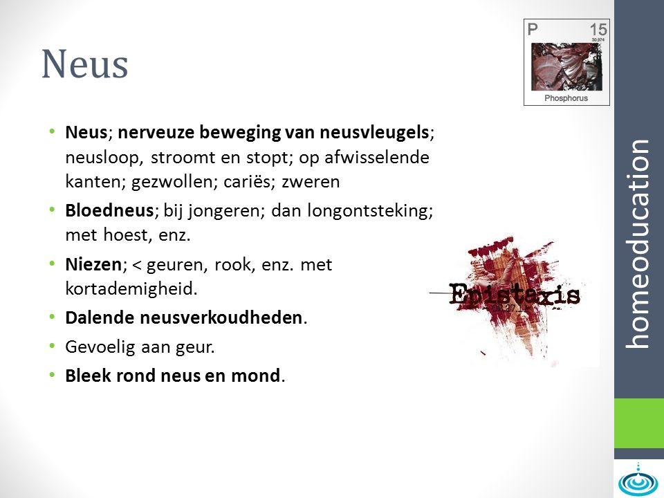 homeoducation Neus Neus; nerveuze beweging van neusvleugels; neusloop, stroomt en stopt; op afwisselende kanten; gezwollen; cariës; zweren Bloedneus;