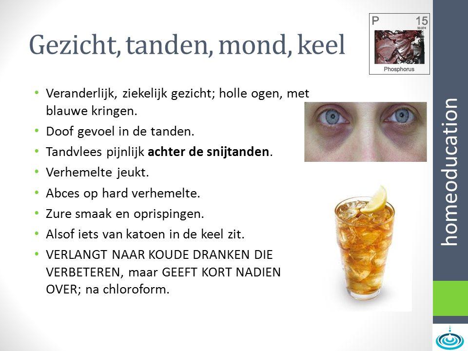 homeoducation Gezicht, tanden, mond, keel Veranderlijk, ziekelijk gezicht; holle ogen, met blauwe kringen. Doof gevoel in de tanden. Tandvlees pijnlij