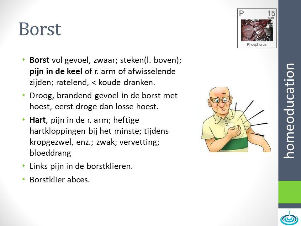 homeoducation Borst Borst vol gevoel, zwaar; steken(l. boven); pijn in de keel of r. arm of afwisselende zijden; ratelend, < koude dranken. Droog, bra