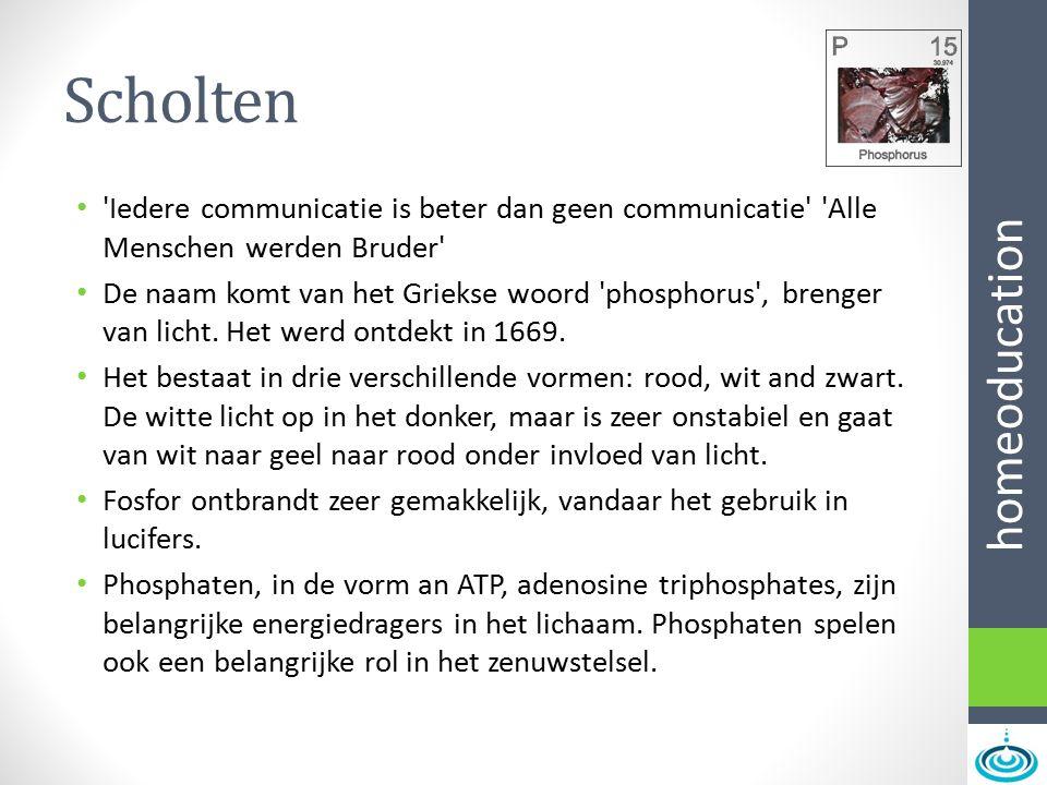 homeoducation Scholten 'Iedere communicatie is beter dan geen communicatie' 'Alle Menschen werden Bruder' De naam komt van het Griekse woord 'phosphor