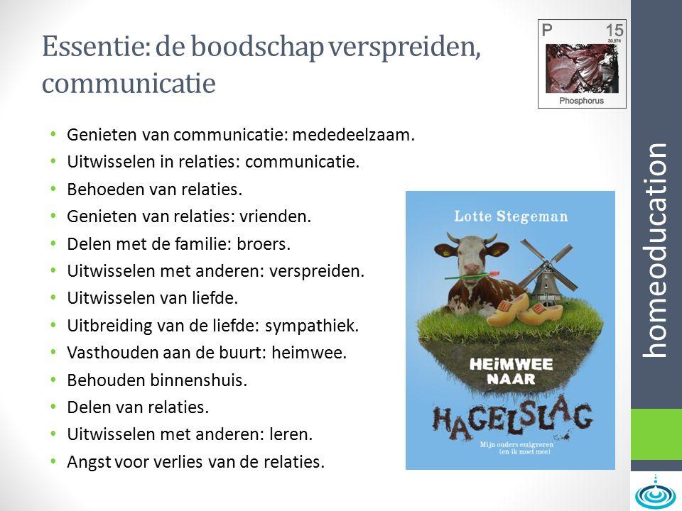 homeoducation Essentie: de boodschap verspreiden, communicatie Genieten van communicatie: mededeelzaam. Uitwisselen in relaties: communicatie. Behoede