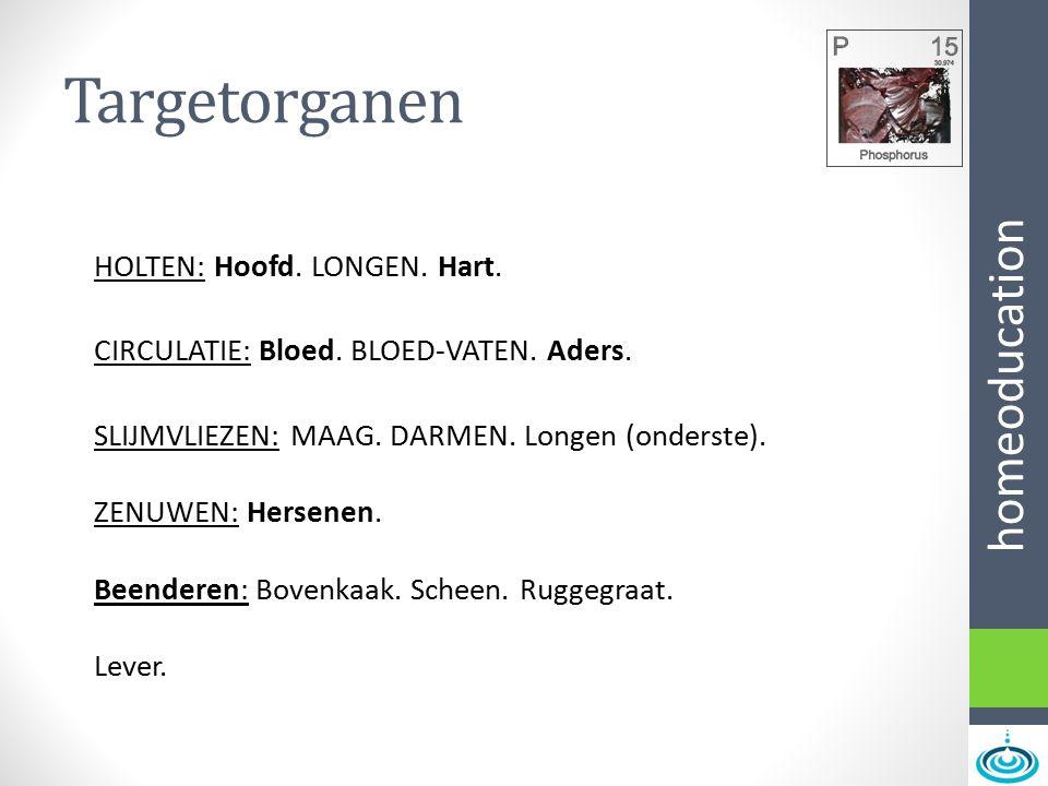 homeoducation Targetorganen HOLTEN: Hoofd. LONGEN. Hart. CIRCULATIE: Bloed. BLOED-VATEN. Aders. SLIJMVLIEZEN: MAAG. DARMEN. Longen (onderste). ZENUWEN