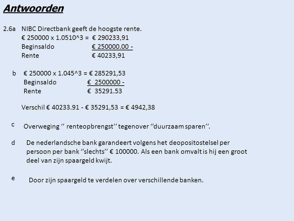 Antwoorden 2.7a€ 3273 zie bron 2.9 bUitkeringstotaal 5 x 12 x € 3273 = € 196380 Koopsom € 1750000 - Rente € 21380 c 104.75 / 103.5 x 100 = 101.21% dus het reeele rente percentage is 1.21% dDe koopkracht is gestegen met 1.21% eAls het inflatiepercentage hoger is geweest dan het rentepercentage.