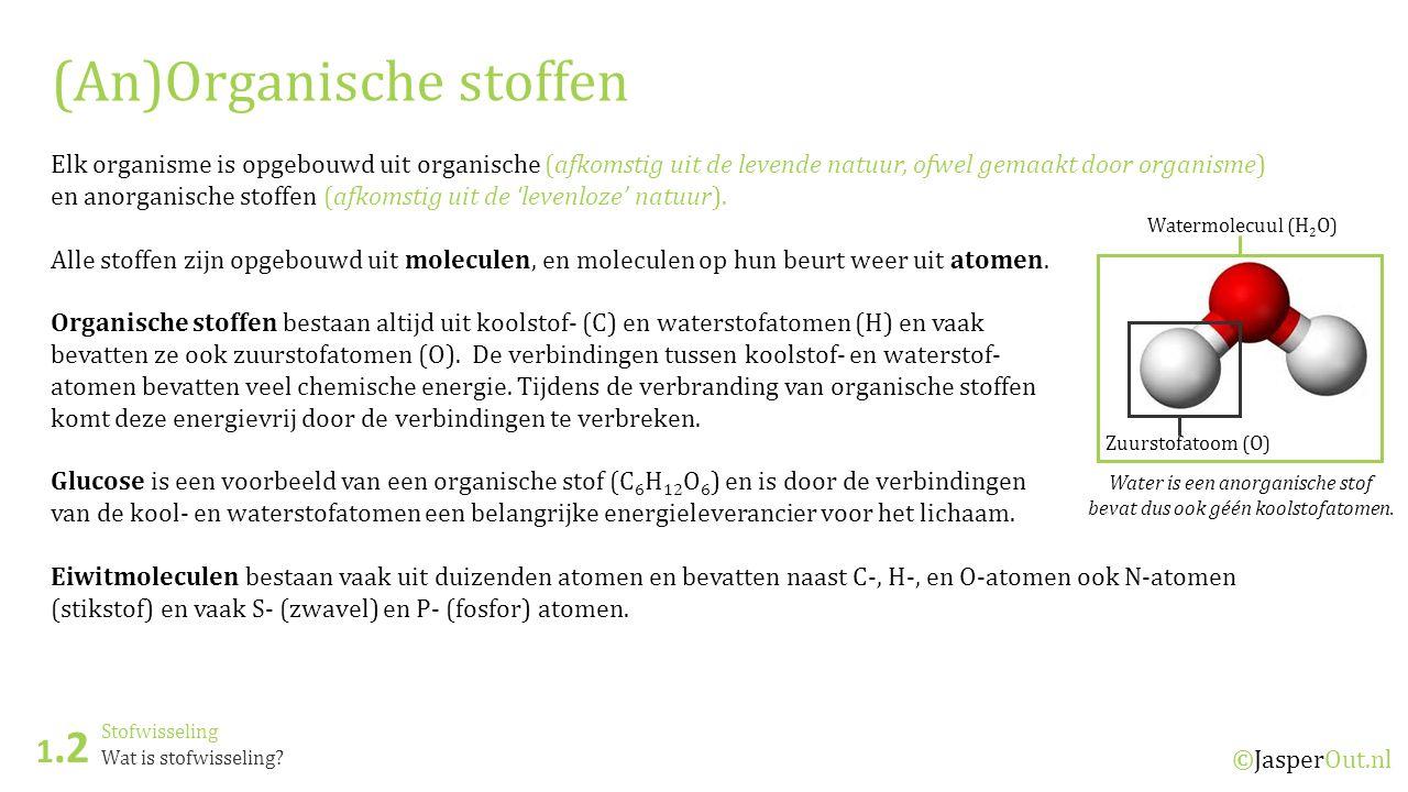 Stofwisseling 1.2 ©JasperOut.nl Wat is stofwisseling? (An)Organische stoffen Elk organisme is opgebouwd uit organische (afkomstig uit de levende natuu