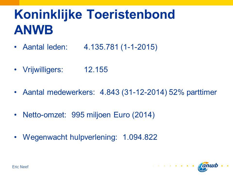 Eric Neef Koninklijke Toeristenbond ANWB Aantal leden: 4.135.781 (1-1-2015) Vrijwilligers: 12.155 Aantal medewerkers: 4.843 (31-12-2014) 52% parttimer