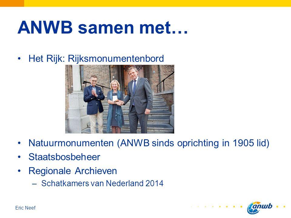 Eric Neef ANWB samen met… Het Rijk: Rijksmonumentenbord Natuurmonumenten (ANWB sinds oprichting in 1905 lid) Staatsbosbeheer Regionale Archieven –Scha