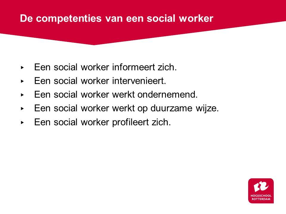 ▸ Een social worker informeert zich. ▸ Een social worker intervenieert. ▸ Een social worker werkt ondernemend. ▸ Een social worker werkt op duurzame w