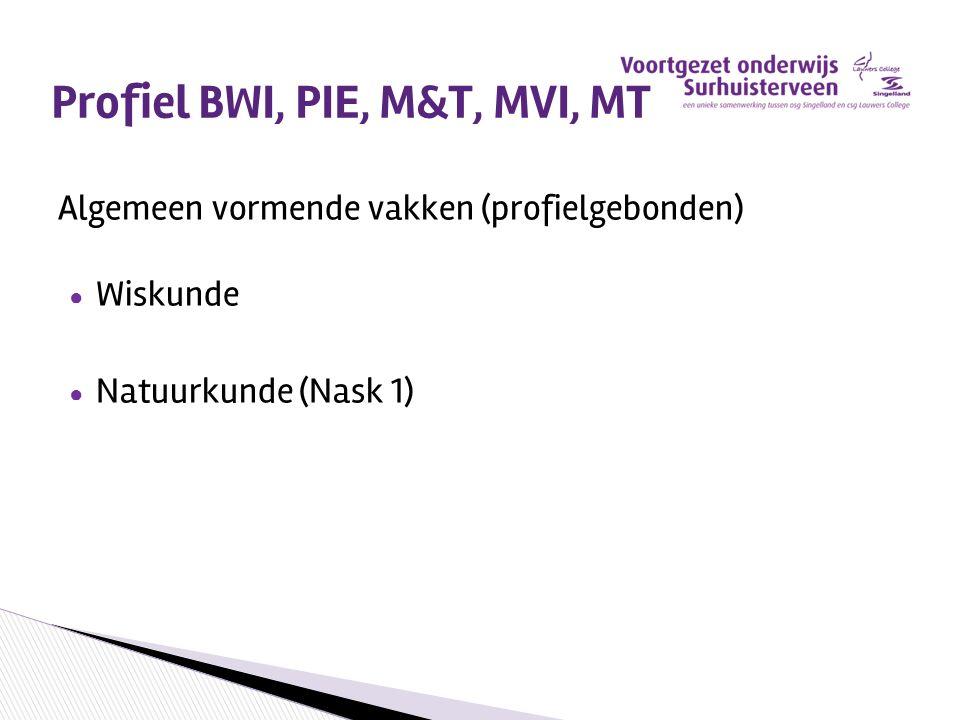 Profiel BWI, PIE, M&T, MVI, MT Algemeen vormende vakken (profielgebonden) ● Wiskunde ● Natuurkunde (Nask 1)