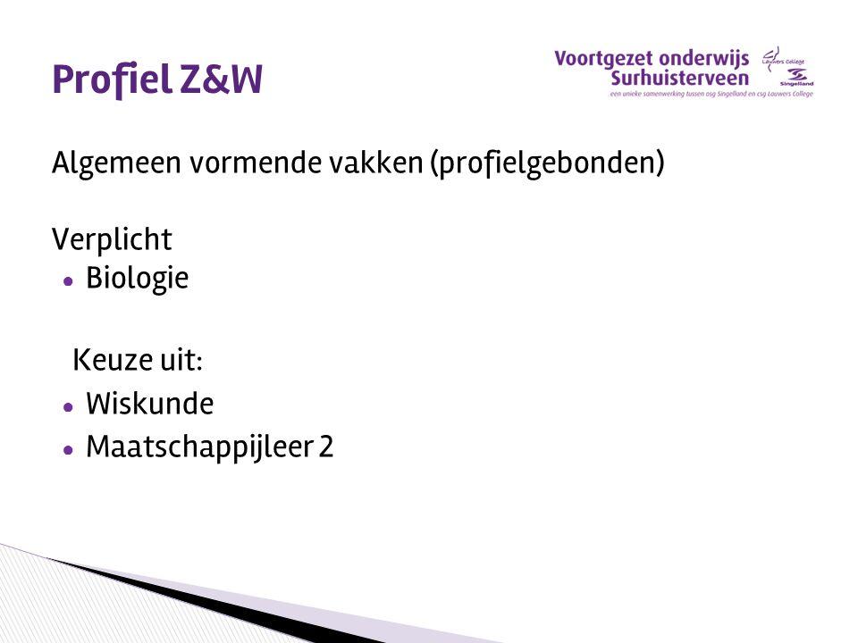 Profiel Z&W Algemeen vormende vakken (profielgebonden) Verplicht ● Biologie Keuze uit: ● Wiskunde ● Maatschappijleer 2