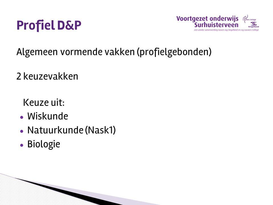 Profiel D&P Algemeen vormende vakken (profielgebonden) 2 keuzevakken Keuze uit: ● Wiskunde ● Natuurkunde (Nask1) ● Biologie