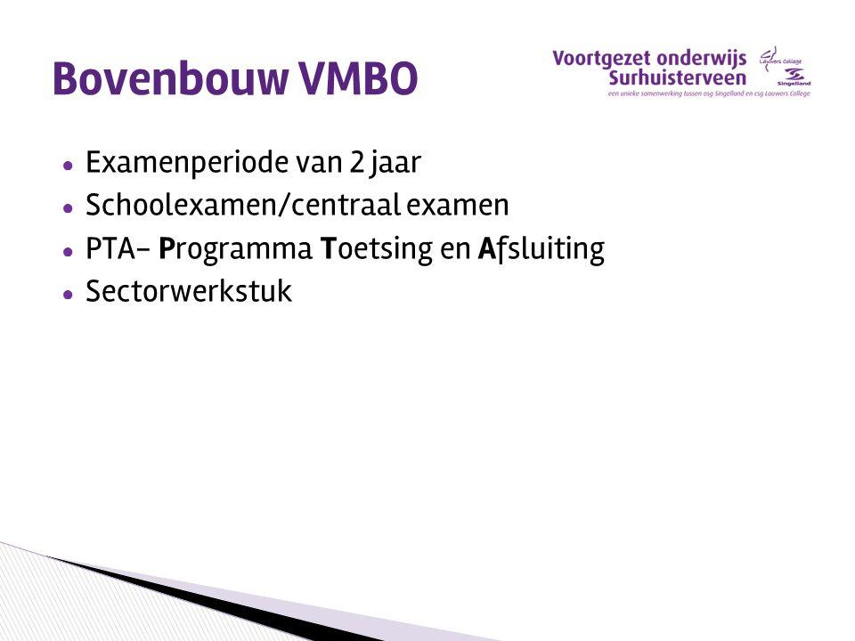 Bovenbouw VMBO ● Examenperiode van 2 jaar ● Schoolexamen/centraal examen ● PTA- Programma Toetsing en Afsluiting ● Sectorwerkstuk