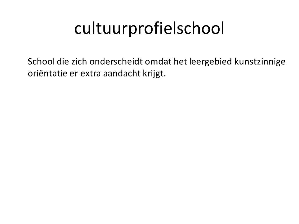 cultuurprofielschool School die zich onderscheidt omdat het leergebied kunstzinnige oriëntatie er extra aandacht krijgt.