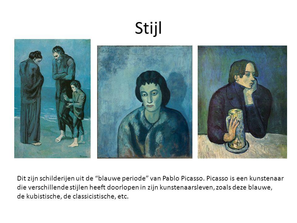 """Stijl Dit zijn schilderijen uit de """"blauwe periode"""" van Pablo Picasso. Picasso is een kunstenaar die verschillende stijlen heeft doorlopen in zijn kun"""