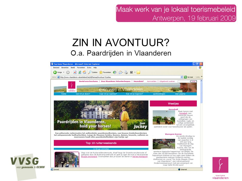 ZIN IN AVONTUUR O.a. Paardrijden in Vlaanderen