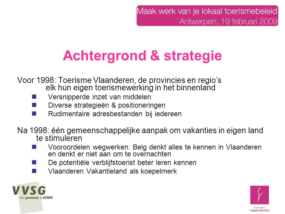 Achtergrond en strategie Vandaag ook heel belangrijk:  Groeiende overnachtingcijfers, maar dalend marktaandeel 200220042006 Vlaanderen34,734,433,8 Wallonië21,0 19,1 Buitenland44,344,647,1 Bron: Reisgedrag van de Belgen, 2006